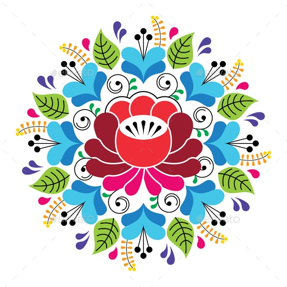 Russian Inspired Folk Art Pattern - Colorful Floral Composition - Patterns Decorative