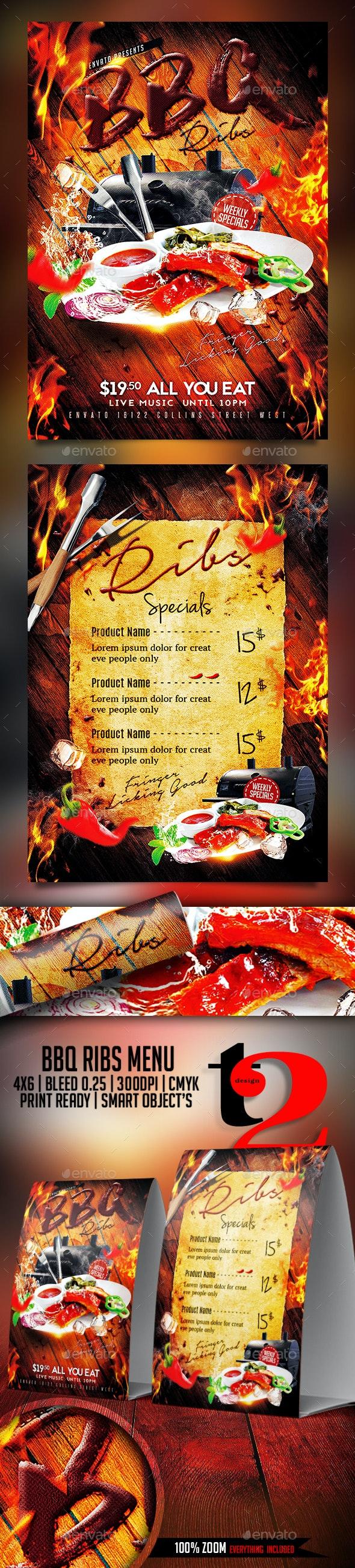 BBQ Ribs Menu Template - Restaurant Flyers