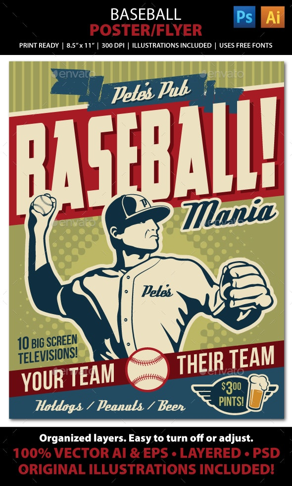 Baseball Poster Flyer or Ad - Sports Events