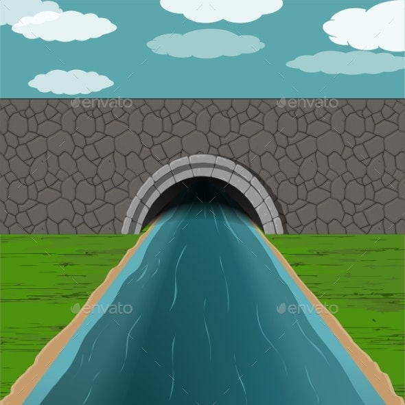 Tunnel with River Illustration - Miscellaneous Vectors