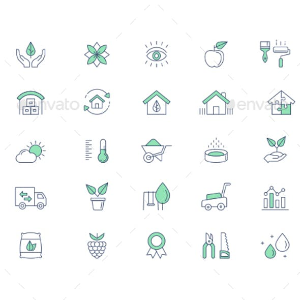 Gardening vector line icon set