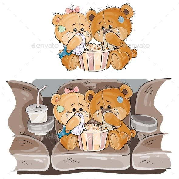 Couple of Brown Teddy Bears Crying