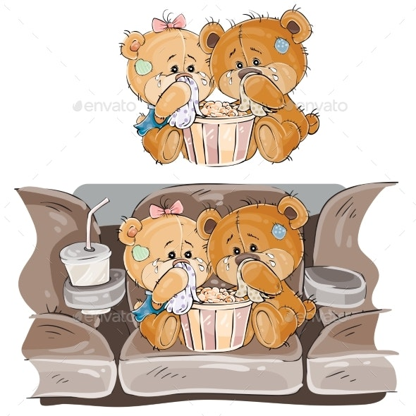 Couple of Brown Teddy Bears Crying - Animals Characters