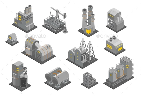 Isometric Factories Set - Industries Business