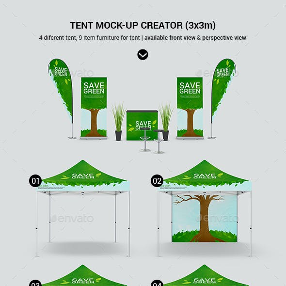 Tent Gazebo / Event Stand Canopy Mockup / Trade Show Mockup
