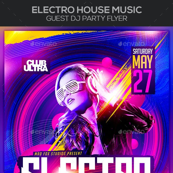 Electro House Music Guest Dj Party Flyer