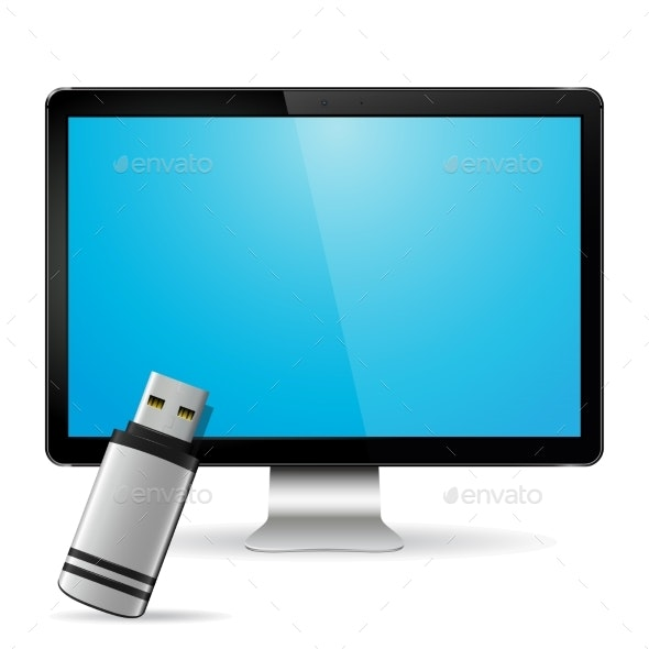 Computer Display with Flash Drive - Computers Technology