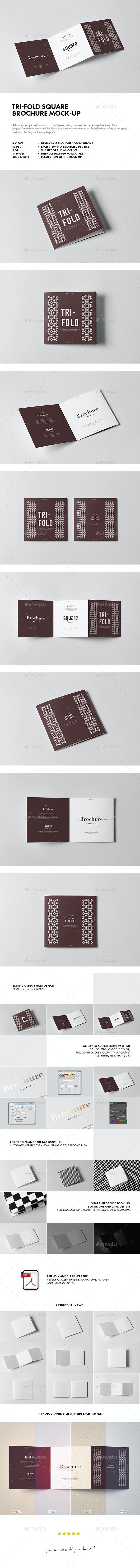 Tri-Fold Square Brochure Mock-up 2 - Brochures Print