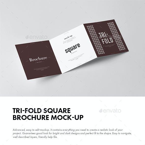 Tri-Fold Square Brochure Mock-up 2