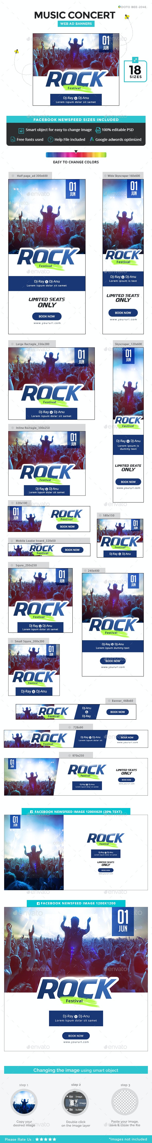 Music Concert Banners - Banners & Ads Web Elements