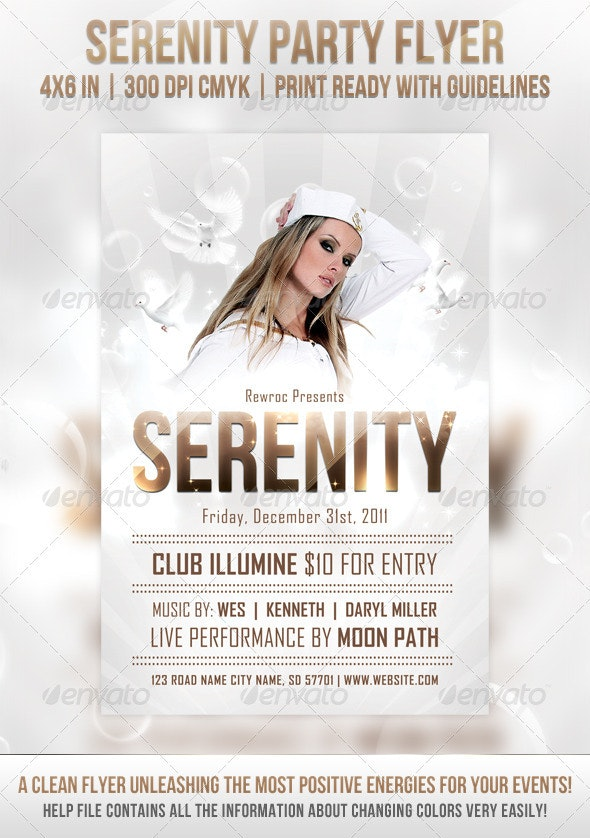 Serenity Party Flyer - Clubs & Parties Events