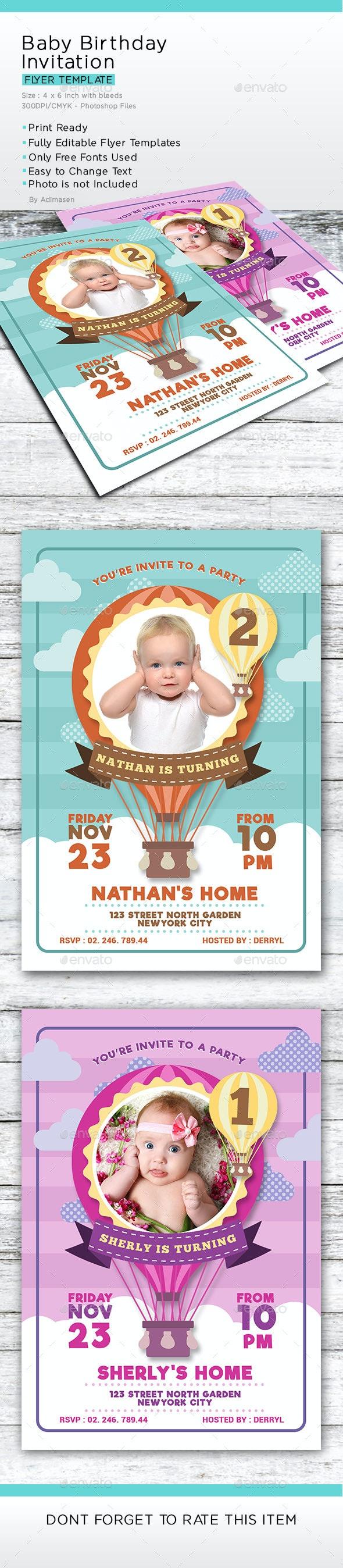 Baby Birthday Invitation - Birthday Greeting Cards