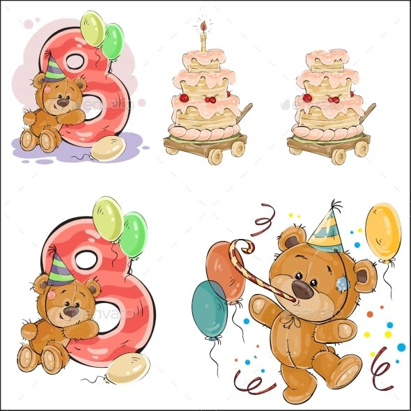 Set of Vector Illustrations with Brown Teddy Bear