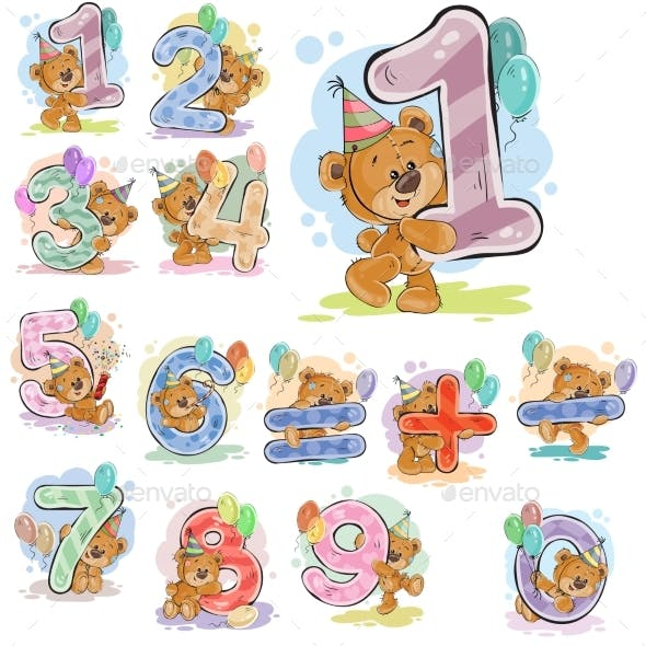 A Set of Vector Illustrations with a Brown Teddy