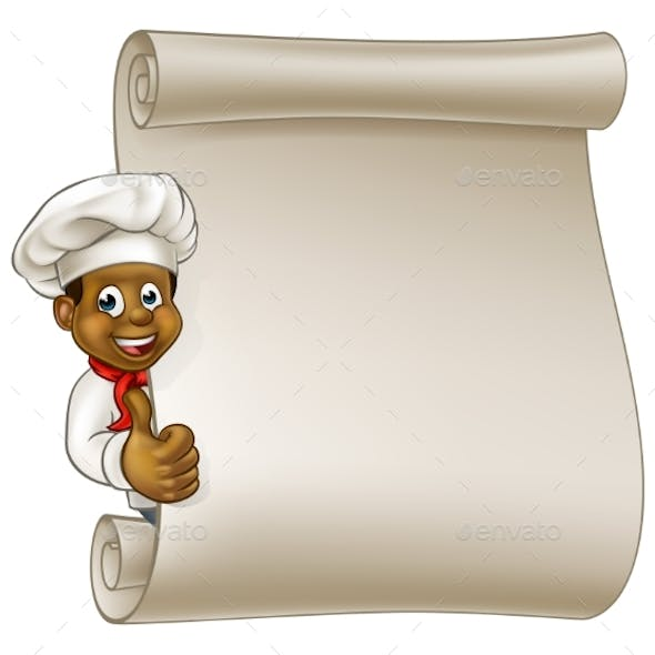 Cartoon Black Chef Menu Scroll