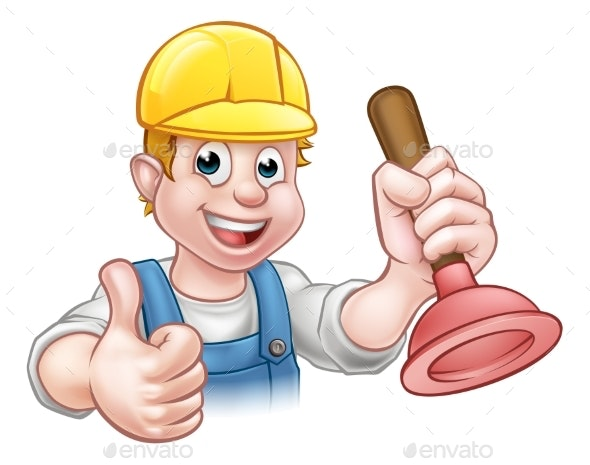 Plumber Handyman Holding Plunger - Industries Business