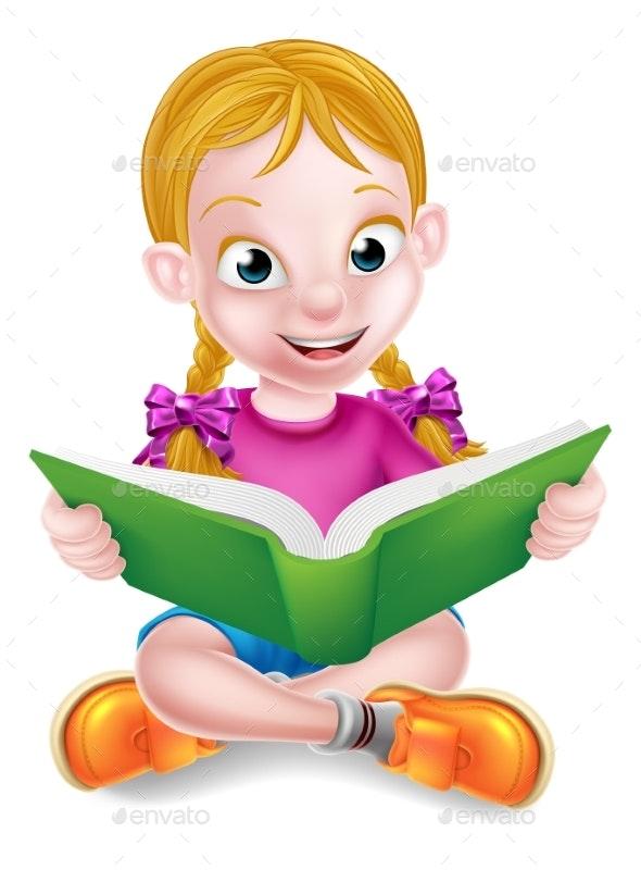 Cartoon Girl Reading Book - People Characters