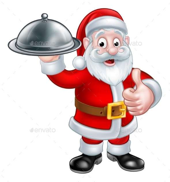 Santa Christmas Cartoon Holding Food Platter - Food Objects
