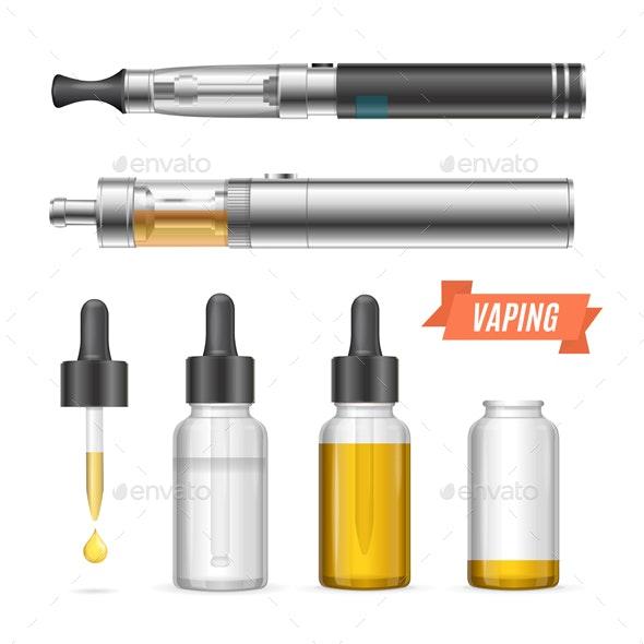 Realistic Vaping Vaporizer Liquid Set. Vector - Objects Vectors