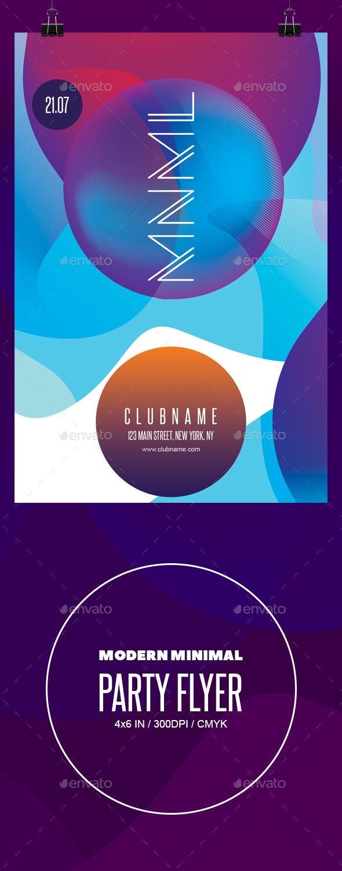 Modern minimal party flyer template - Flyers Print Templates