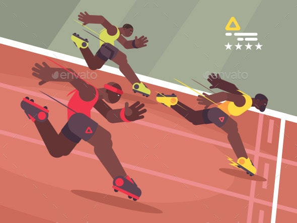 Athletics Competition Sprint - People Characters