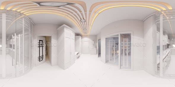 3d Render Hall Interior Design in Classic Style - Architecture 3D Renders