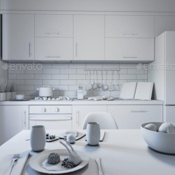 3d Illustration of Kitchen Design in a Modern