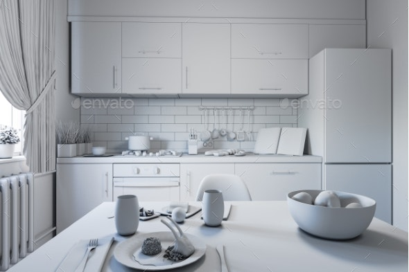 3d Illustration of Kitchen Design in a Modern - Architecture 3D Renders