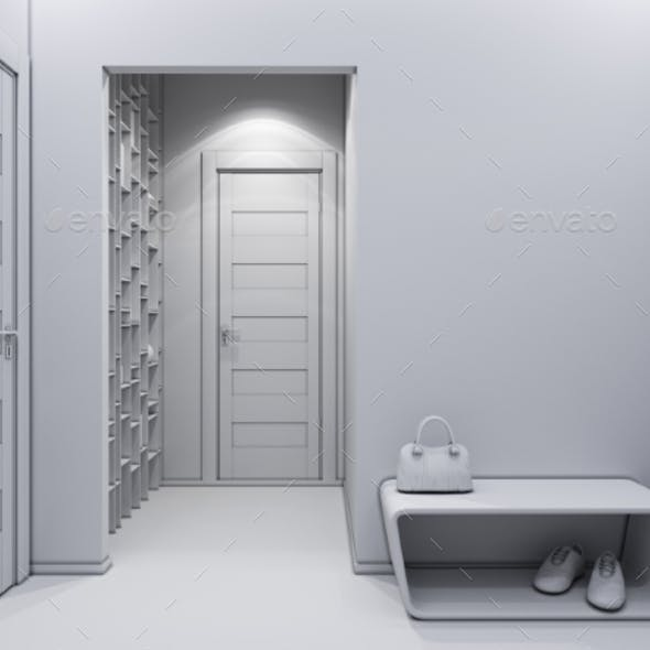 3D Illustration of a Hall Without Textures and