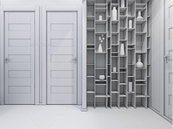 3D Illustration of a Hall Without Textures - Architecture 3D Renders