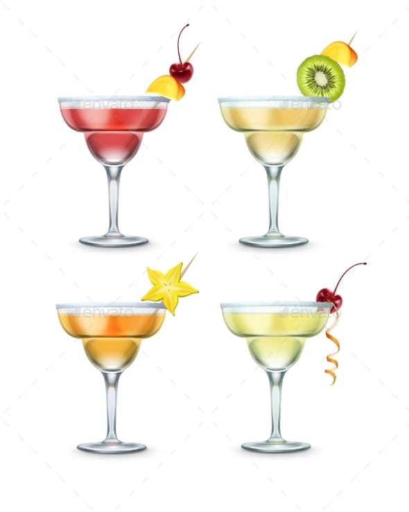Set of Margarita Cocktails - Food Objects