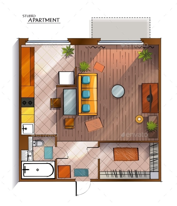 Vector Modern Studio Apartment Top View - Buildings Objects