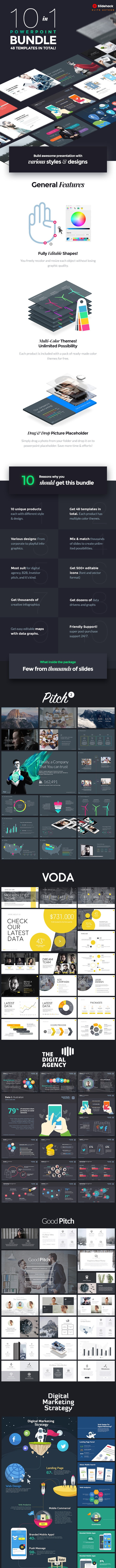 10 in 1 - Pitch Powerpoint Bundle - PowerPoint Templates Presentation Templates