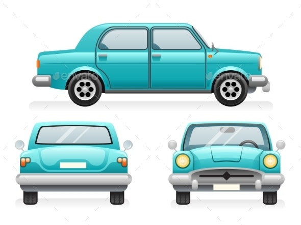 Front Back Side Point View Retro Car Icons Set - Man-made Objects Objects
