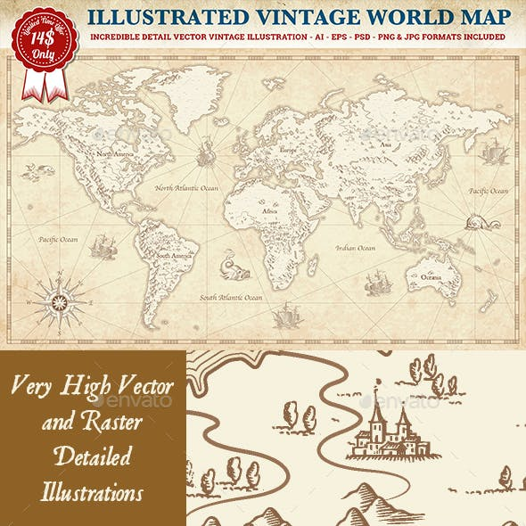 Vintage Vector World Map