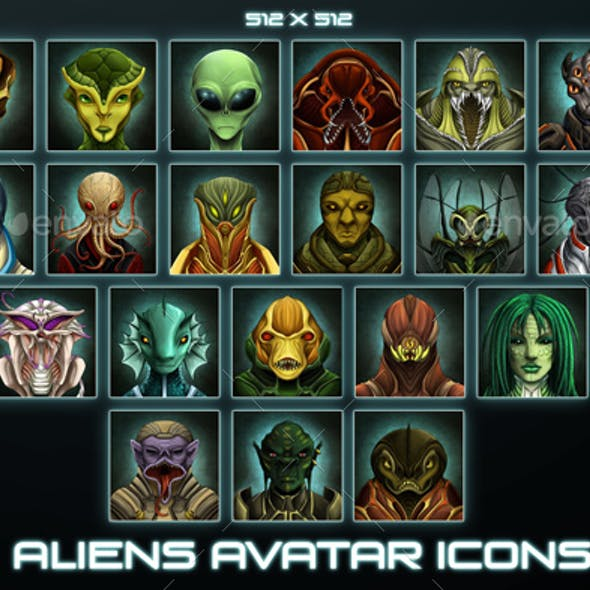 20 Aliens Avatar Game Icons