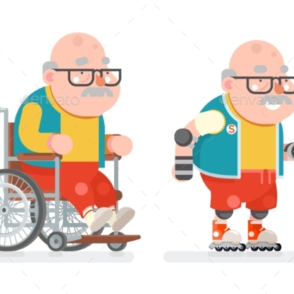 Wheelchair Grandfather Active Lifestyle Roller