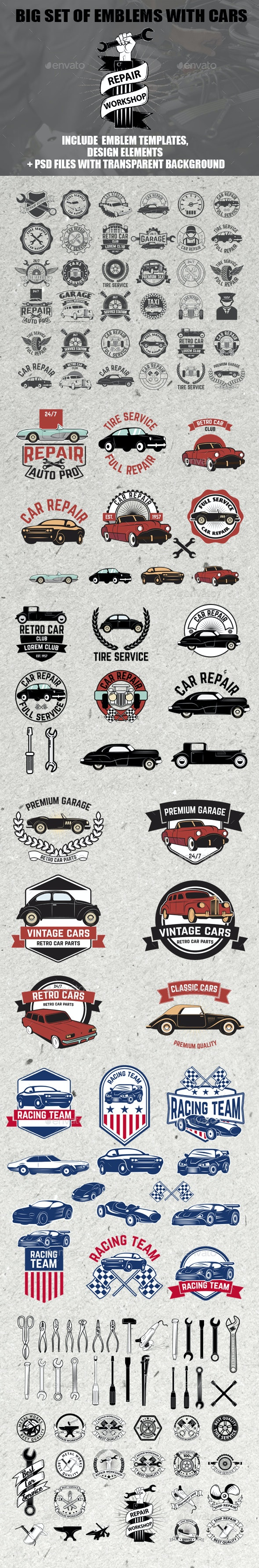 Set of Car Service Badges - Services Commercial / Shopping