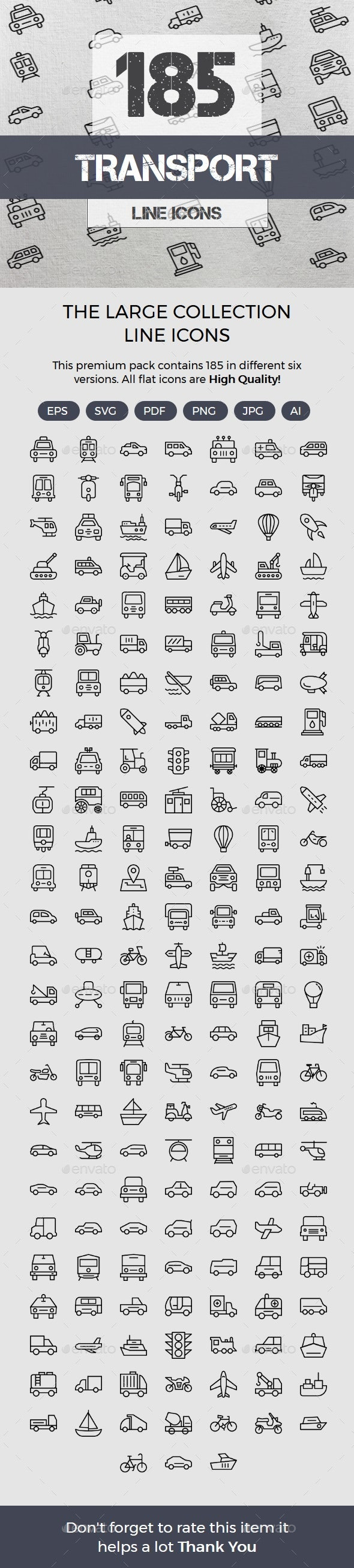 Transport Line Icons - Web Icons
