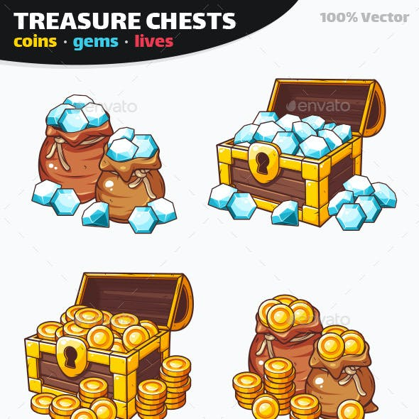 Coins with Gems and Lives Game Pack - Treasure Chest Icons