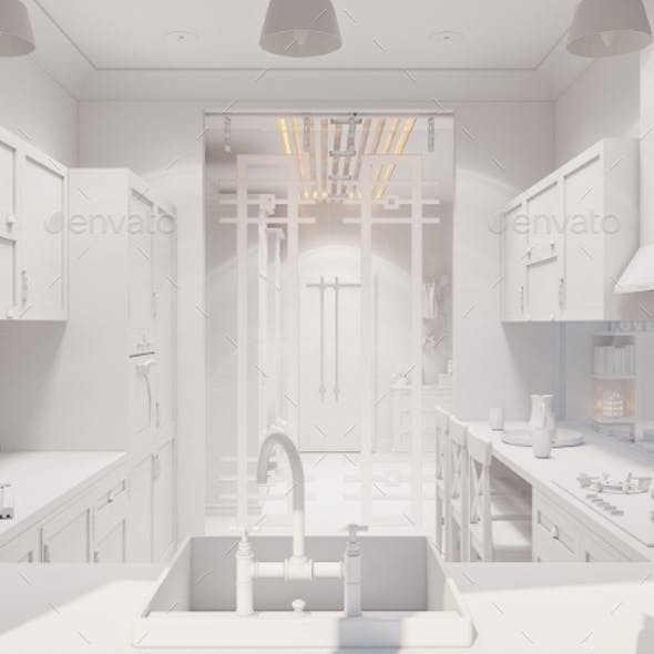 3d Render of the Interior Design of the Kitchen