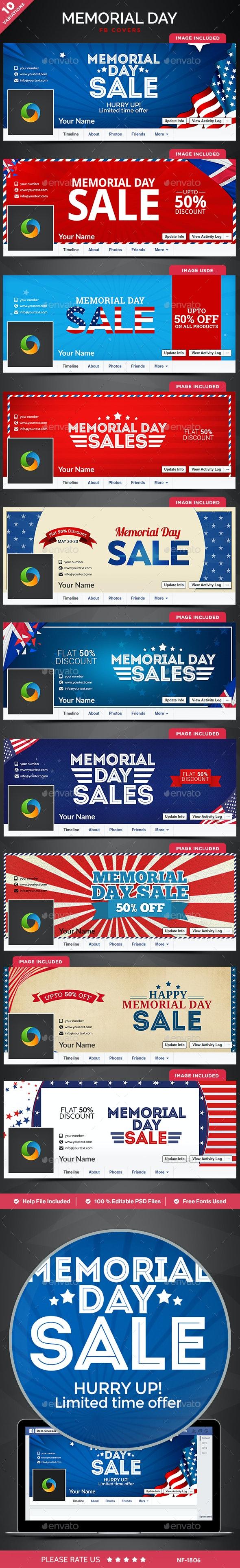 Memorial Day Facebook Covers - 10 Designs - Facebook Timeline Covers Social Media