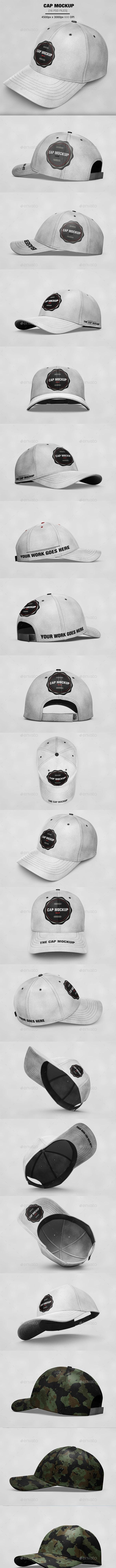 16 Cap Mockup - Product Mock-Ups Graphics