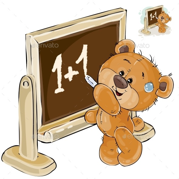 Vector Illustration of a Brown Teddy Bear - Animals Characters