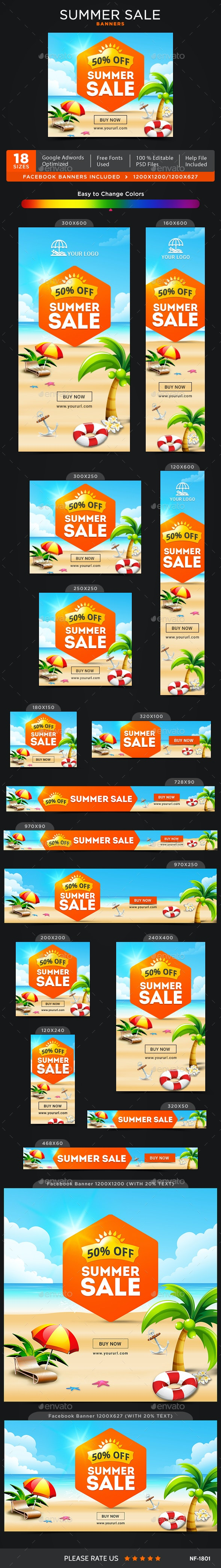Summer Sale Banners - Image Included - Banners & Ads Web Elements