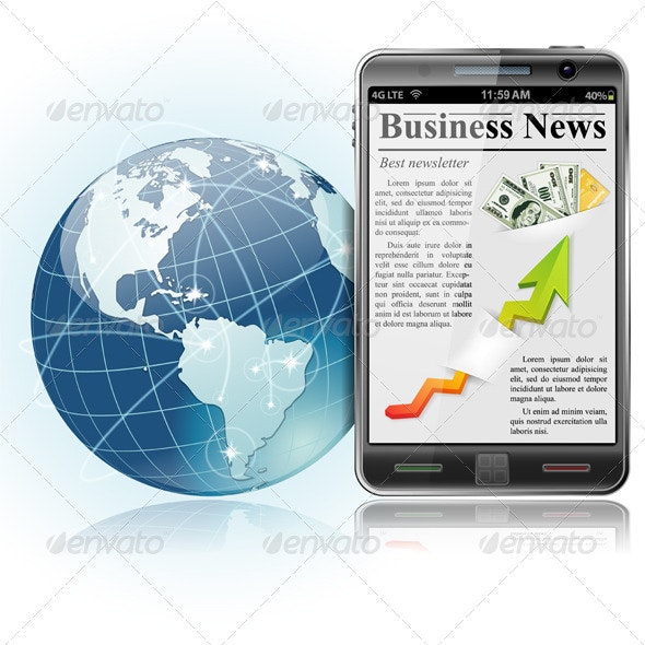Global Business. News on Smart Phone - Concepts Business