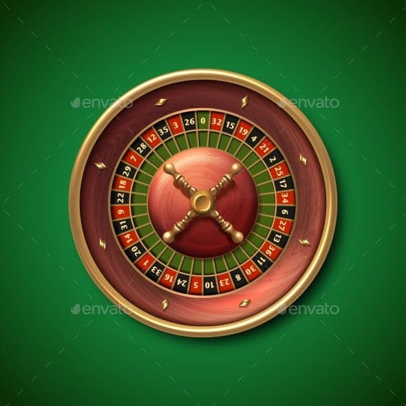 Las Vegas Casino Roulette Wheel Isolated Vector