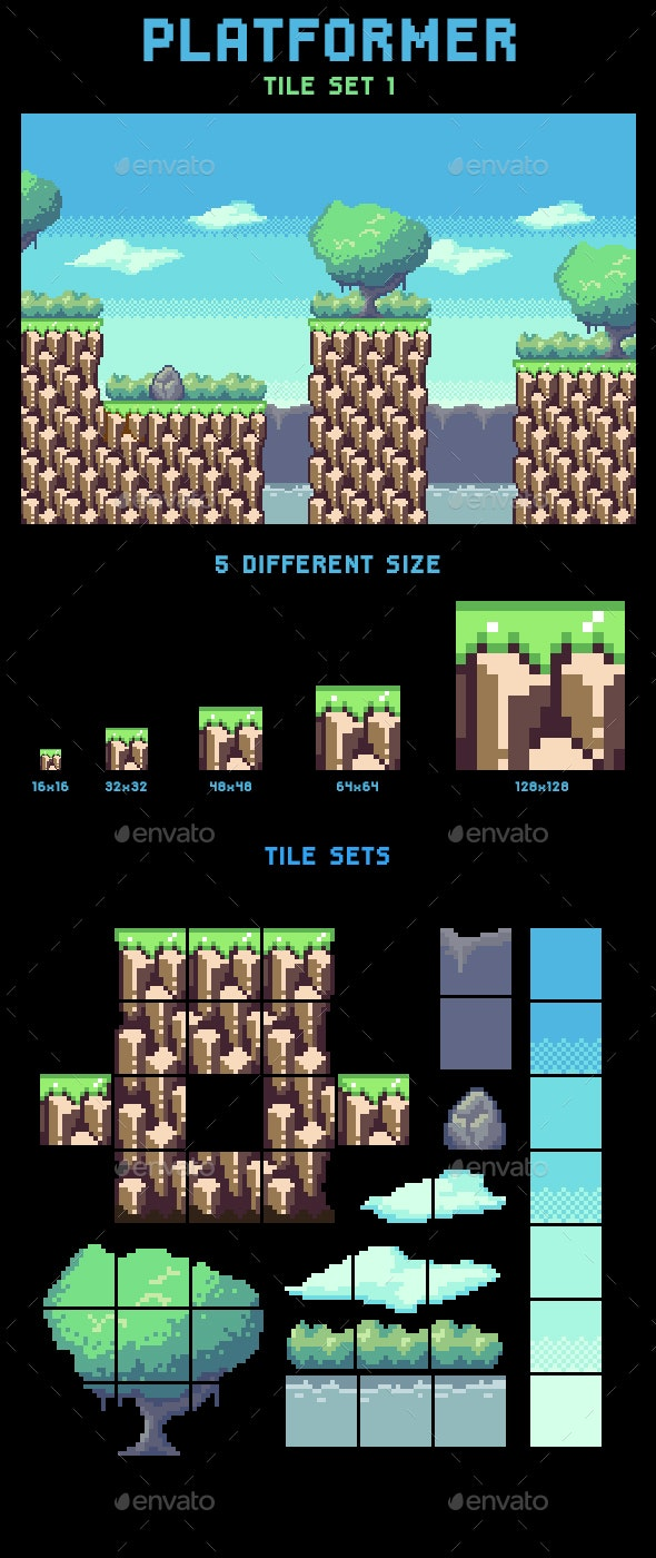 Platformer Tile Set 1 Without Slope - Tilesets Game Assets