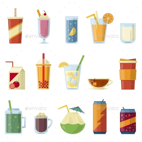 Illustration with Non Alcoholic Drinks. Vector