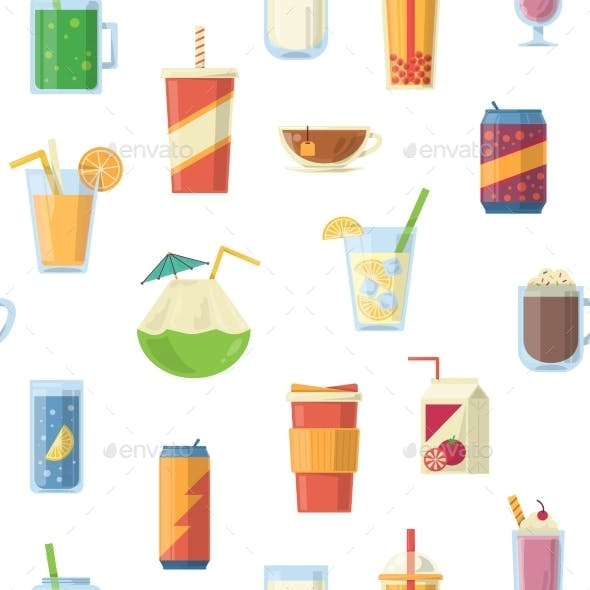 Vector Seamless Pattern with Non Alcoholic Drinks